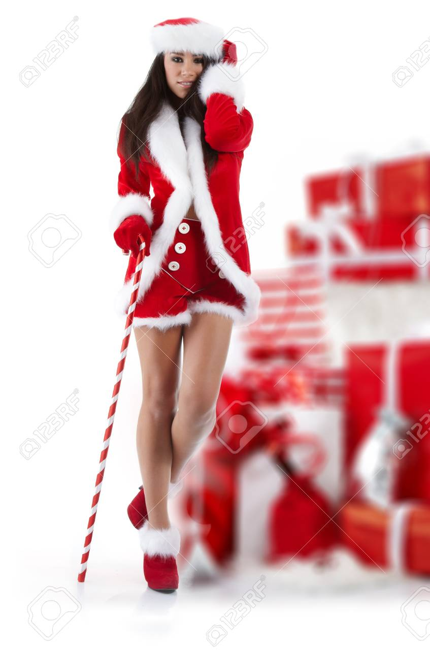 beautiful sexy girl wearing santa claus clothes Stock Photo - 7887236