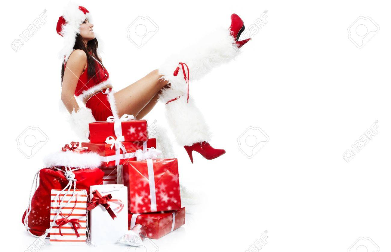 beautiful sexy girl wearing santa claus clothes Stock Photo - 7887238