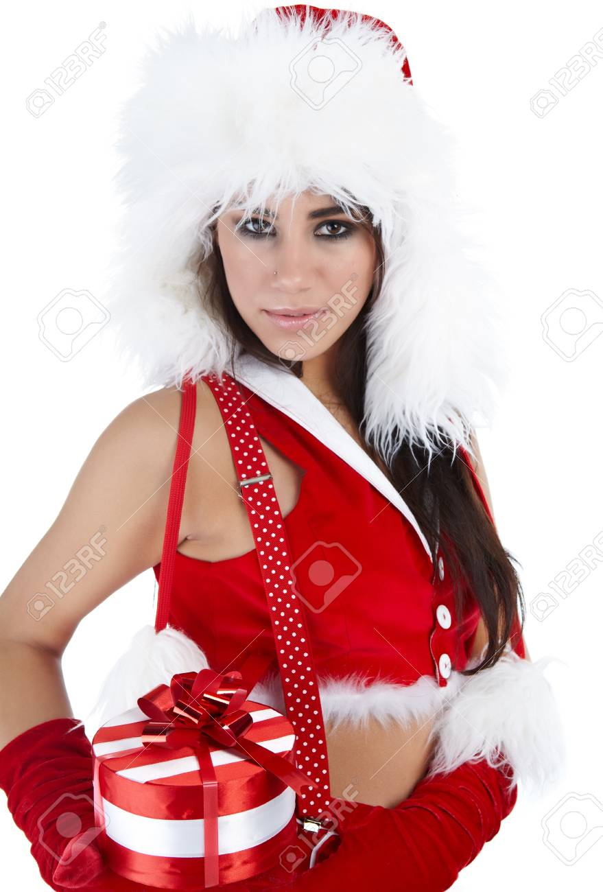 winter girl with christmas gift Stock Photo - 7946679