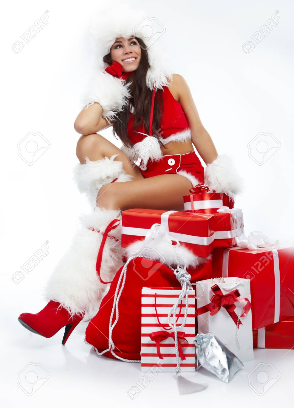 christmas woman with gifts box Stock Photo - 8357048