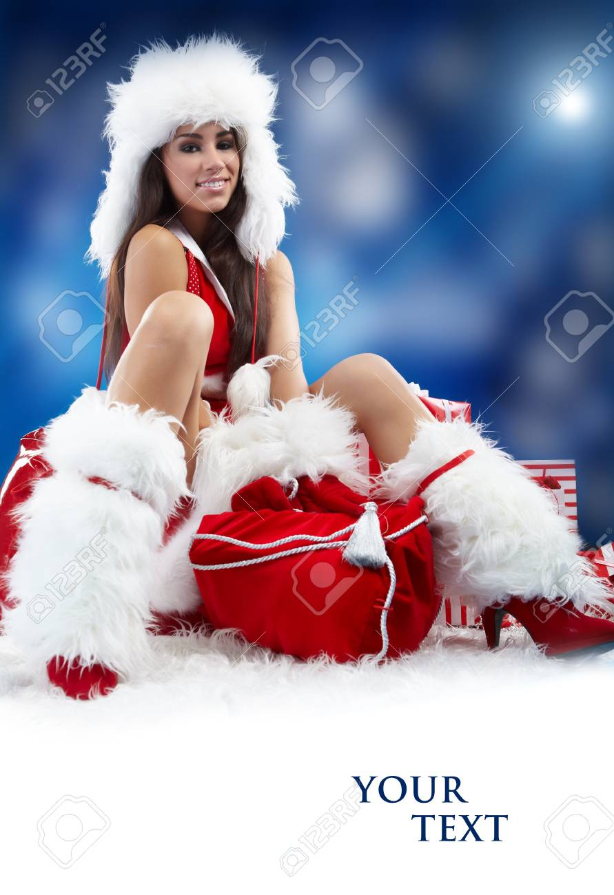 christmas woman with gifts box Stock Photo - 8357121