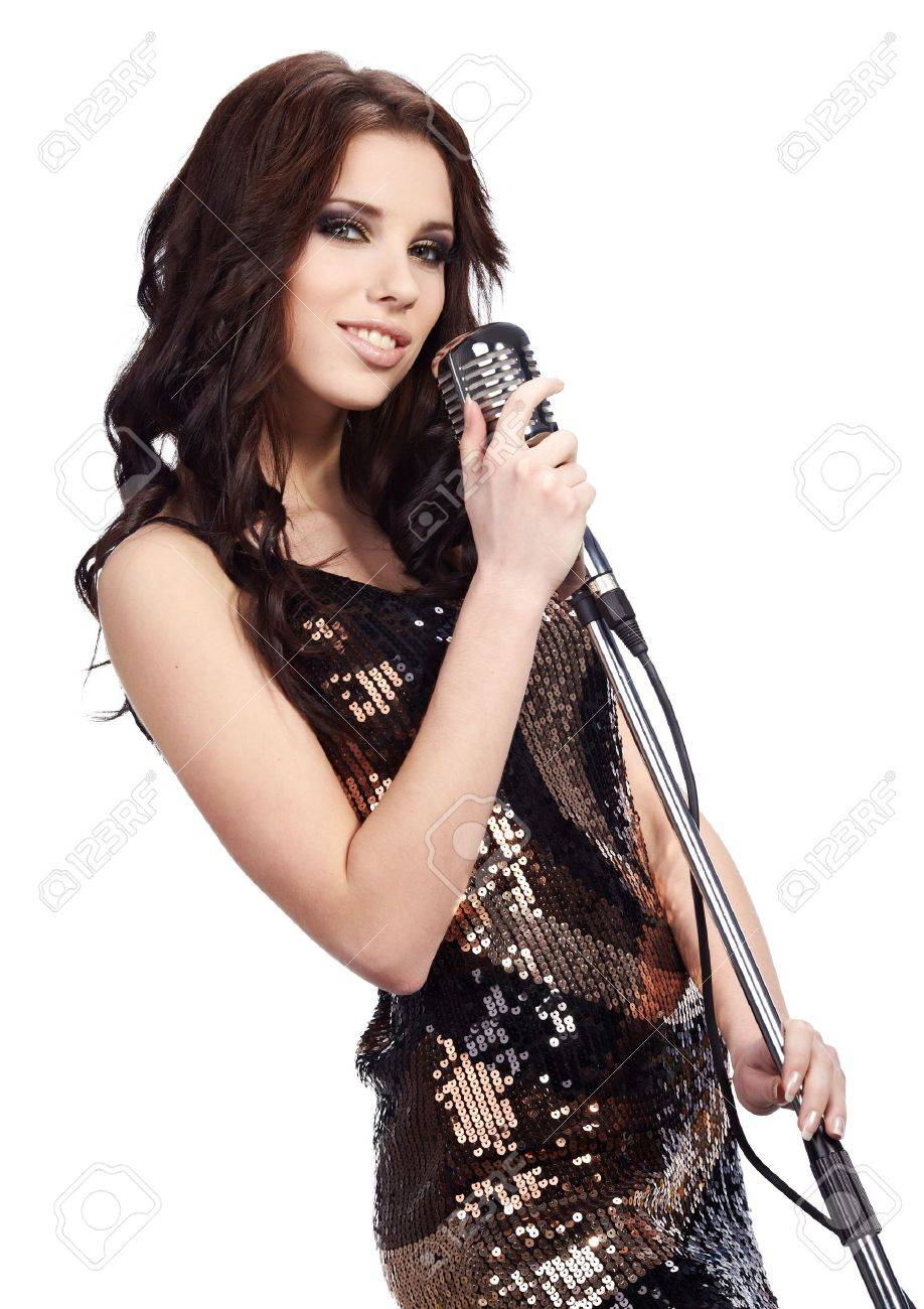 pop female singer with the retro microphone Stock Photo - 10387181