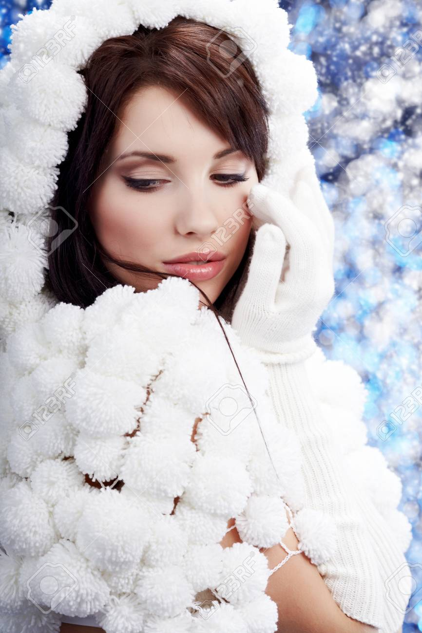 Portrait Of A Winter Woman Pom Pon Hat Stock Photo 10445713