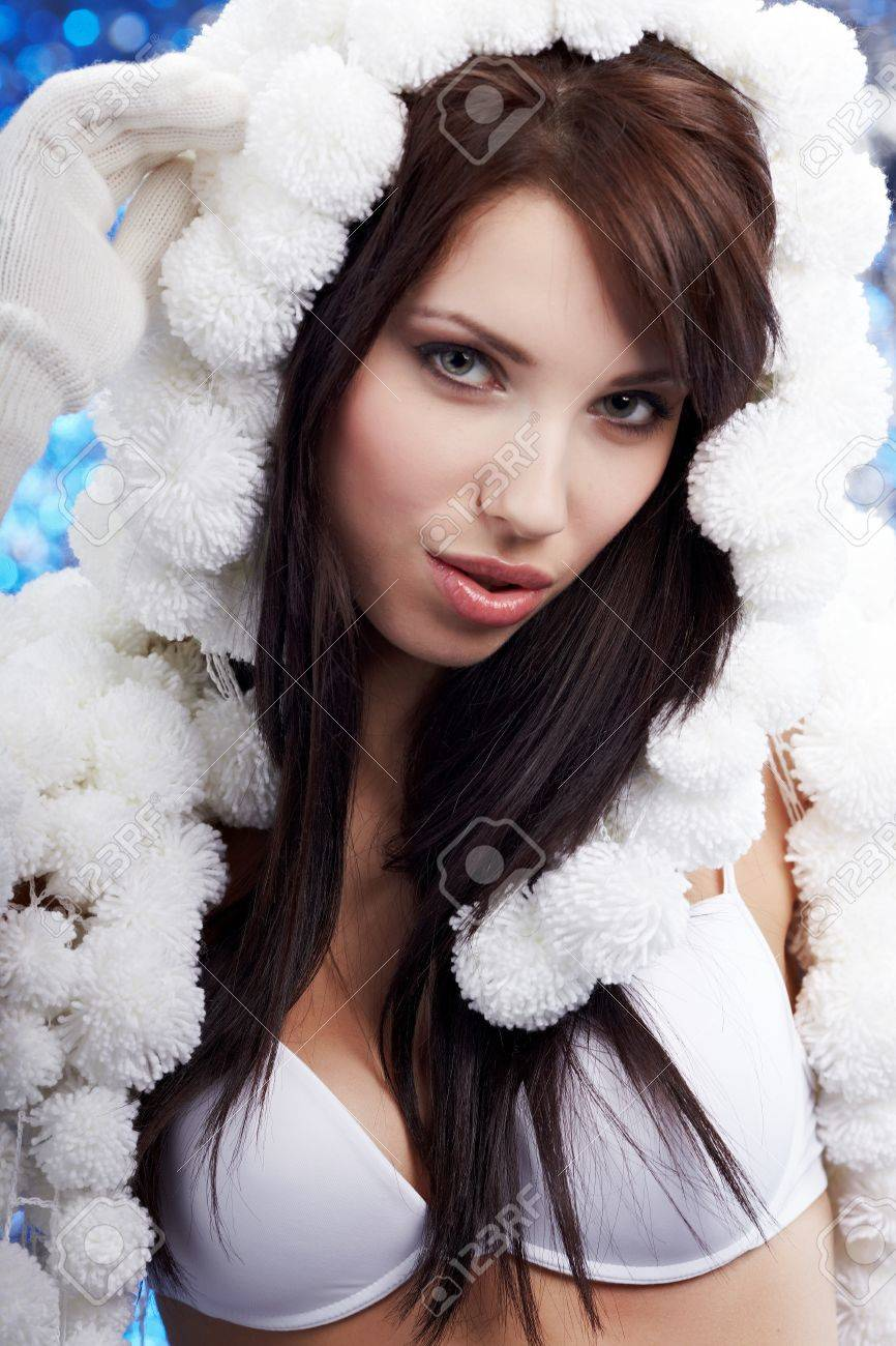 Portrait Of A Winter Woman Pom Pon Hat Stock Photo 10445721