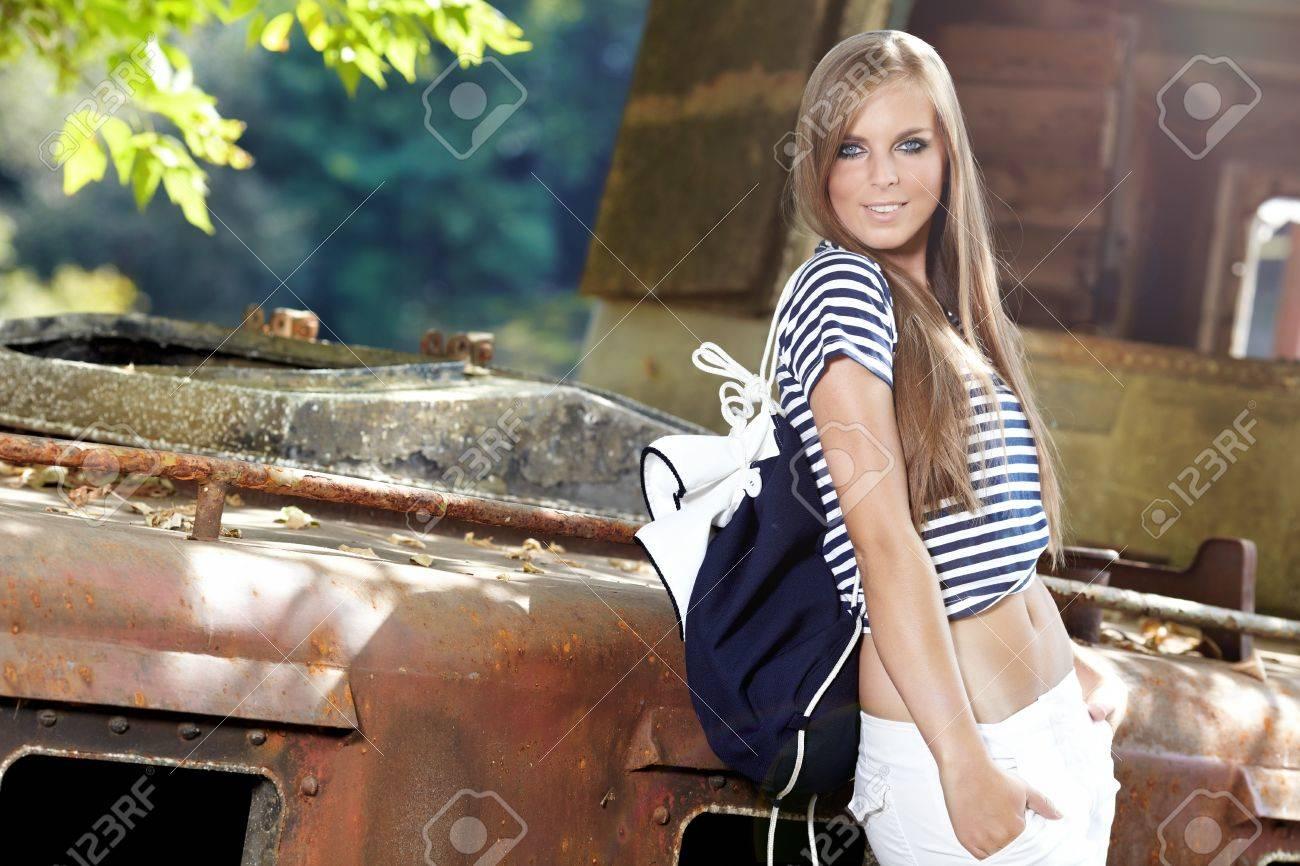 Sexy sailor woman on a ship wreck Stock Photo - 10479077
