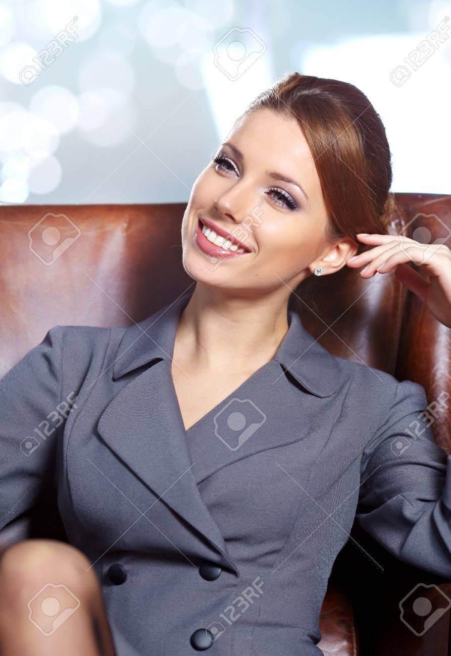 business woman in modern glass interior Stock Photo - 11622953