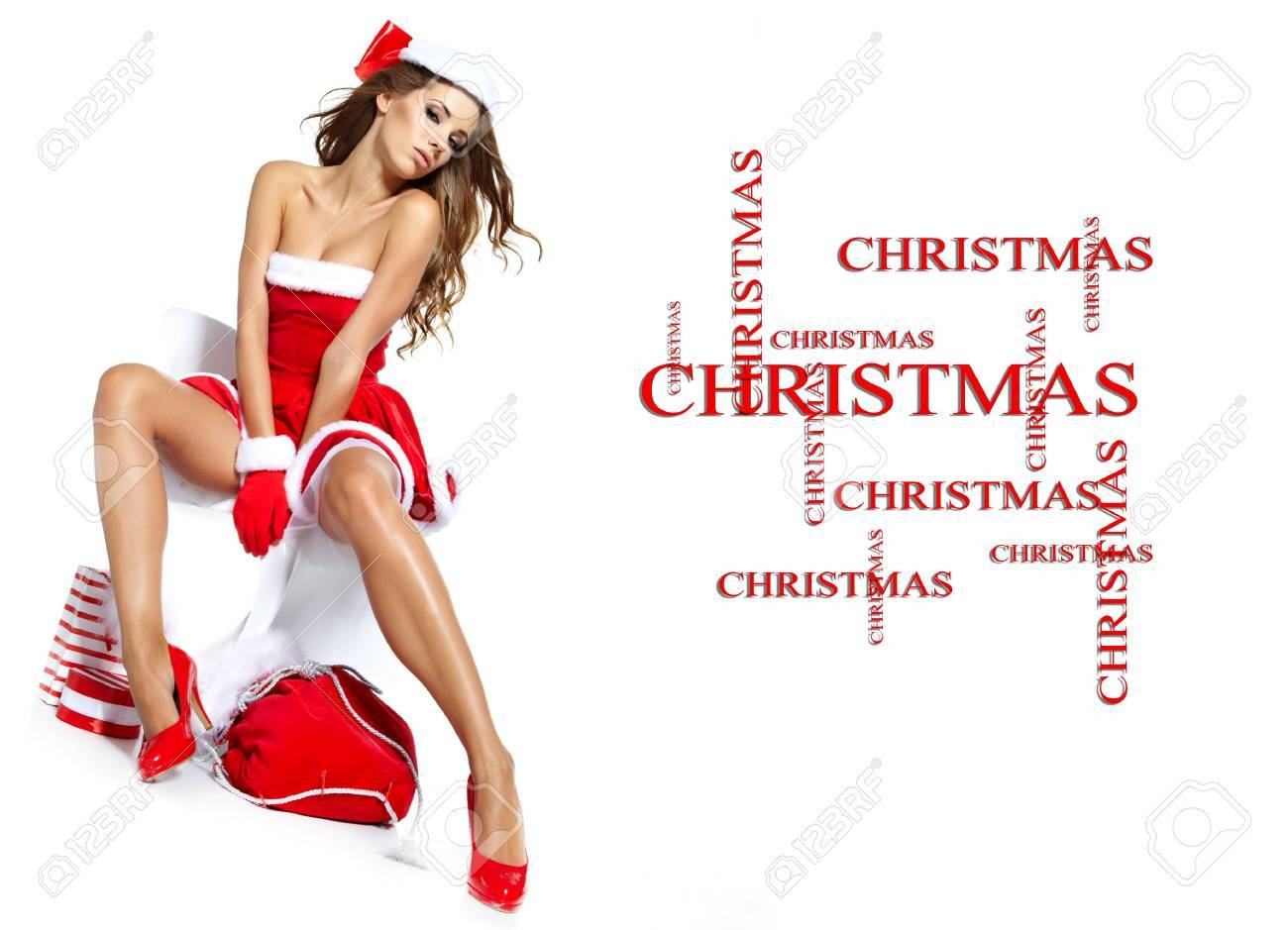 beautiful sexy girl wearing santa claus clothes Stock Photo - 14992412