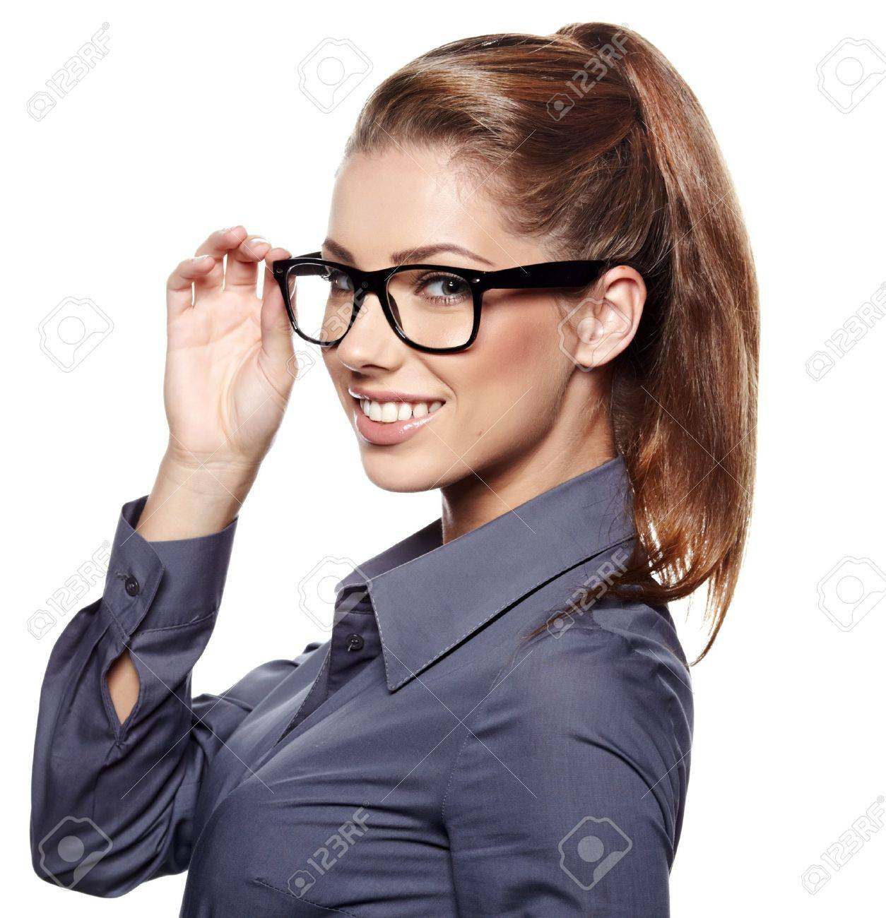 Cute young business woman with glasses Stock Photo - 15427851
