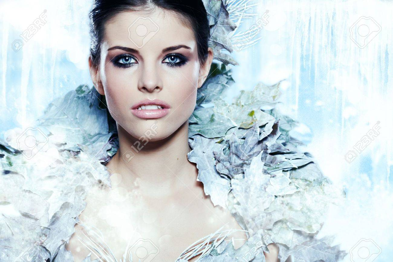Young woman in creative image with silver artistic make-up. Stock Photo - 16118176