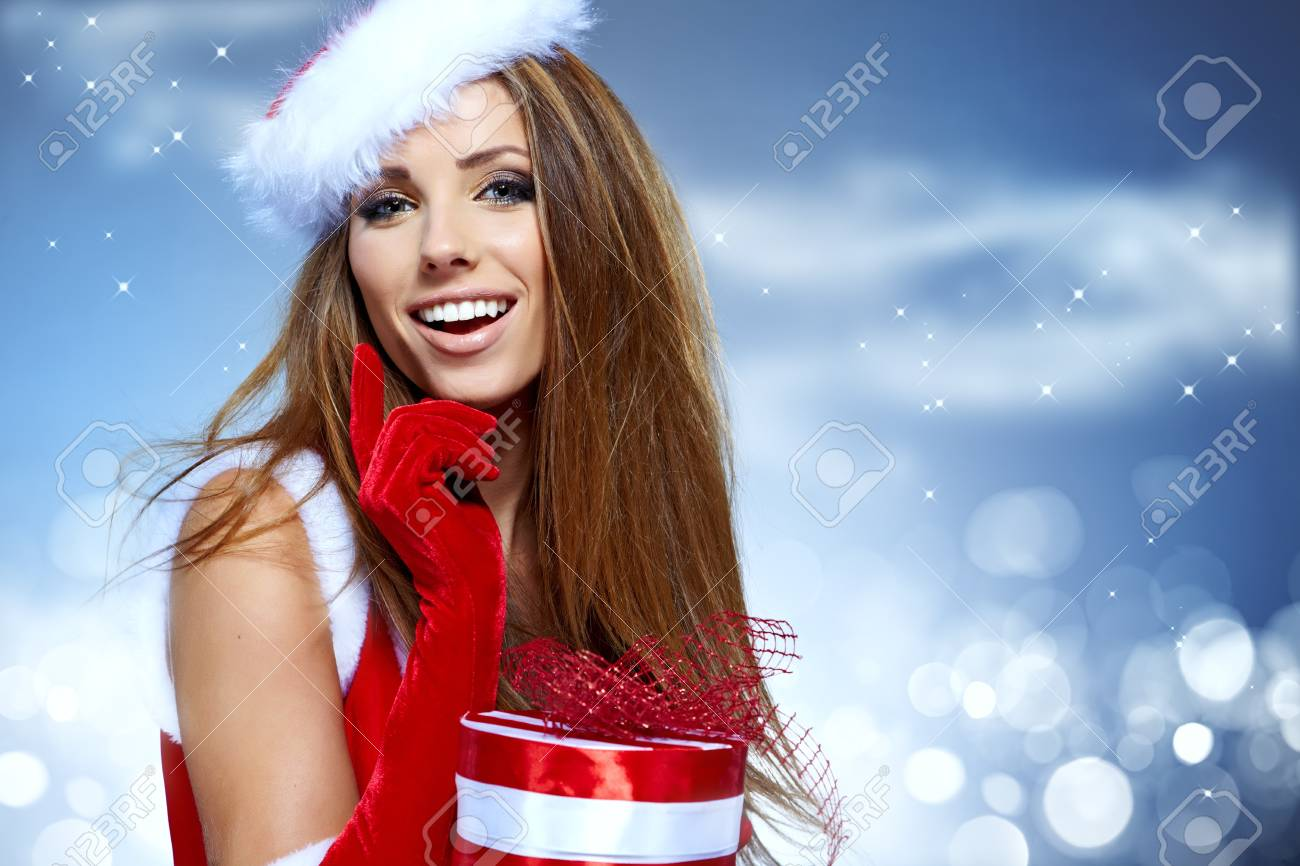 christmas woman with gifts box Stock Photo - 16097192