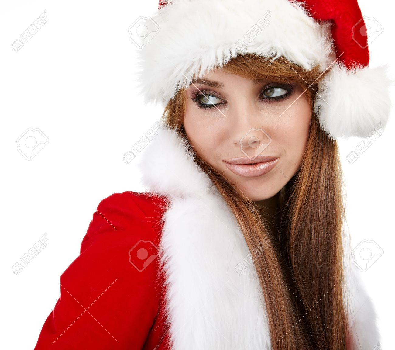 Portrait of beautiful sexy girl wearing santa claus clothes Stock Photo - 16515044