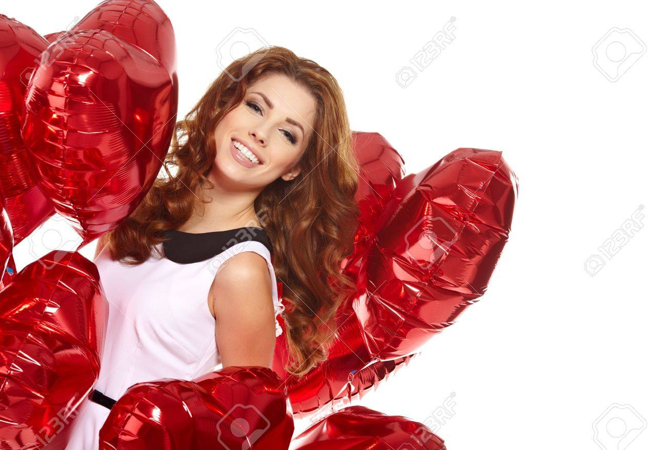 woman with red heart balloon on a white background Stock Photo - 17501588
