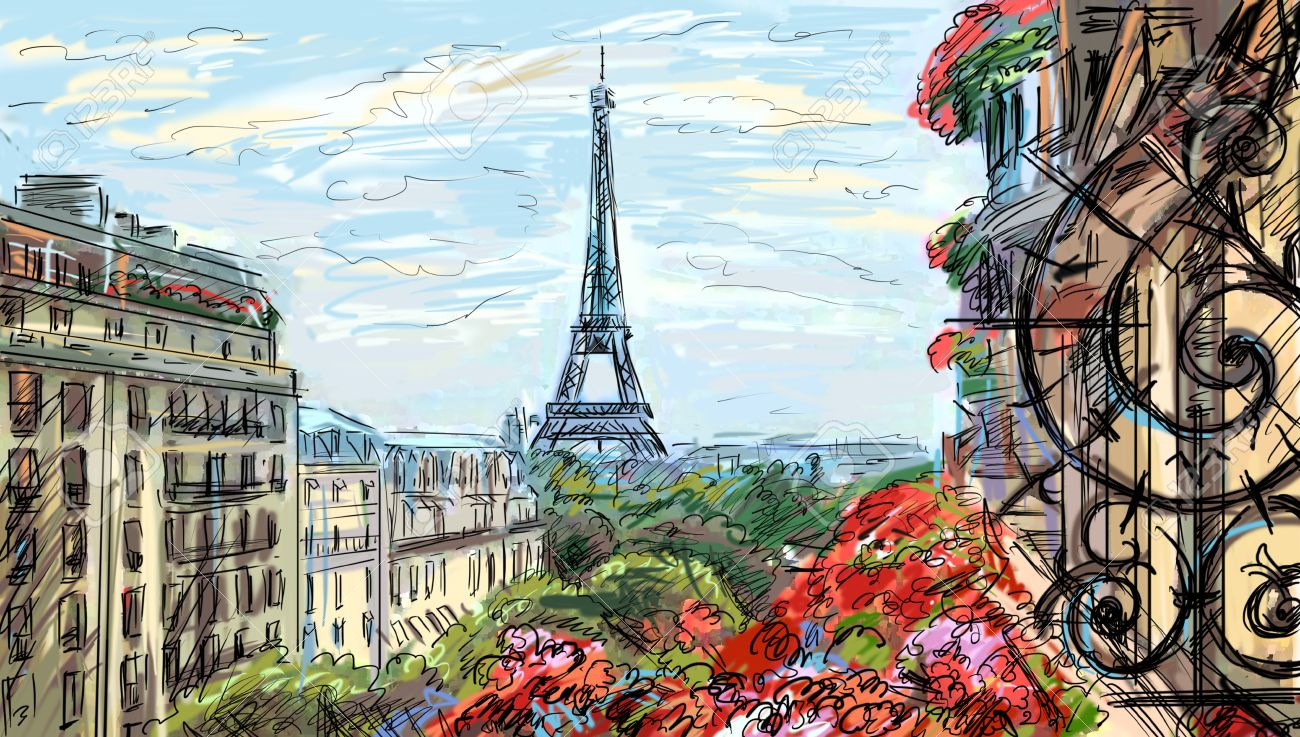 Street In Paris - Illustration Stock Photo, Picture And Royalty ...