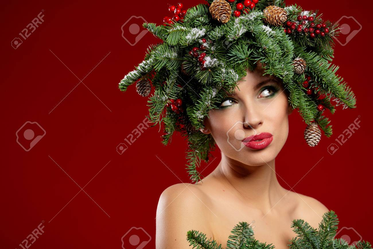 Beauty Fashion Model Girl With Christmas Tree Hairstyle Stock Photo