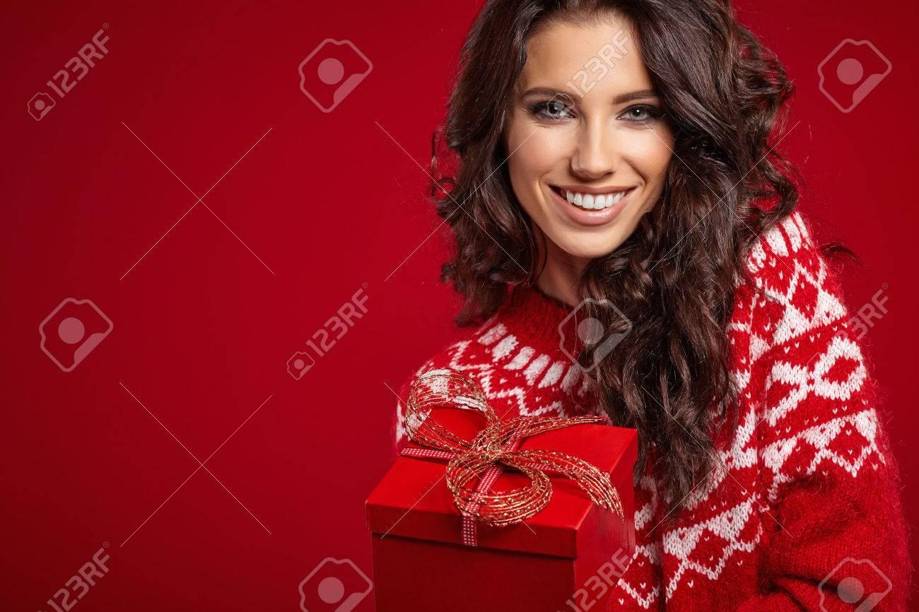 Woman with christmas box gift - 47195625