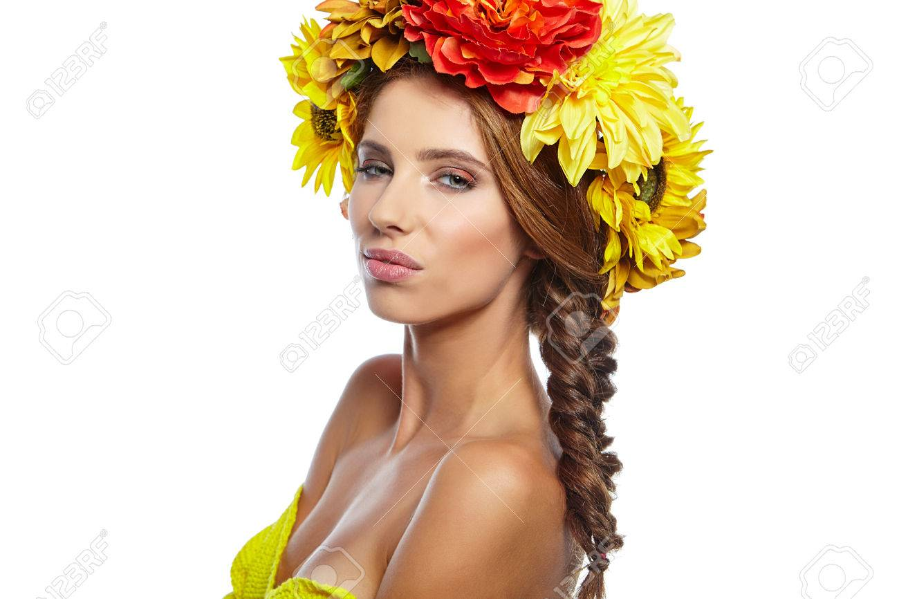 Beautiful Young Woman With Summer Flowers Long Permed Curly Stock