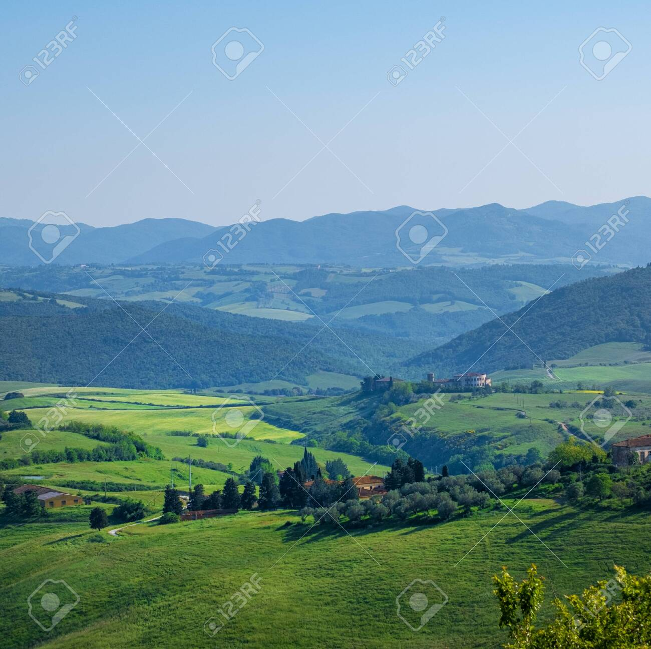 Typical Tuscany landscape with hills, green trees and houses, Italy. - 126888894