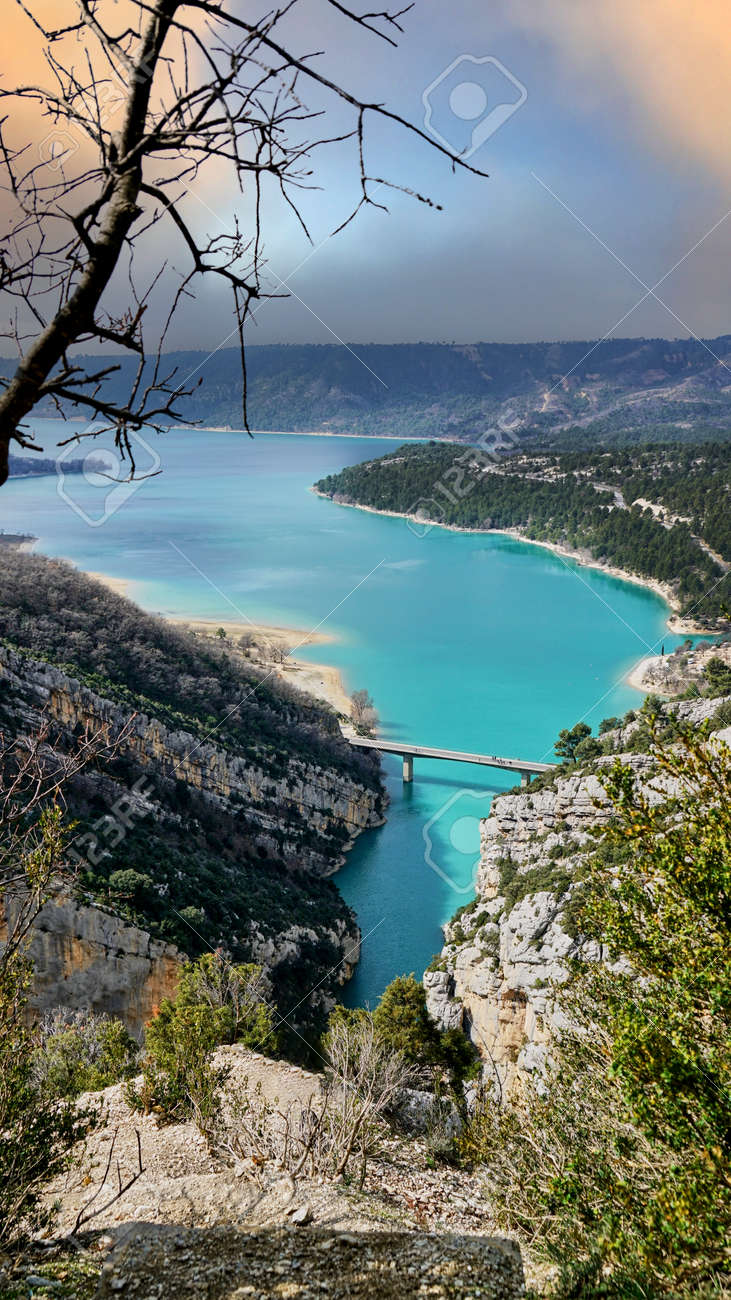 View on Guadalest water reservoir with turquoise water in Alicante province Spain - 166638904