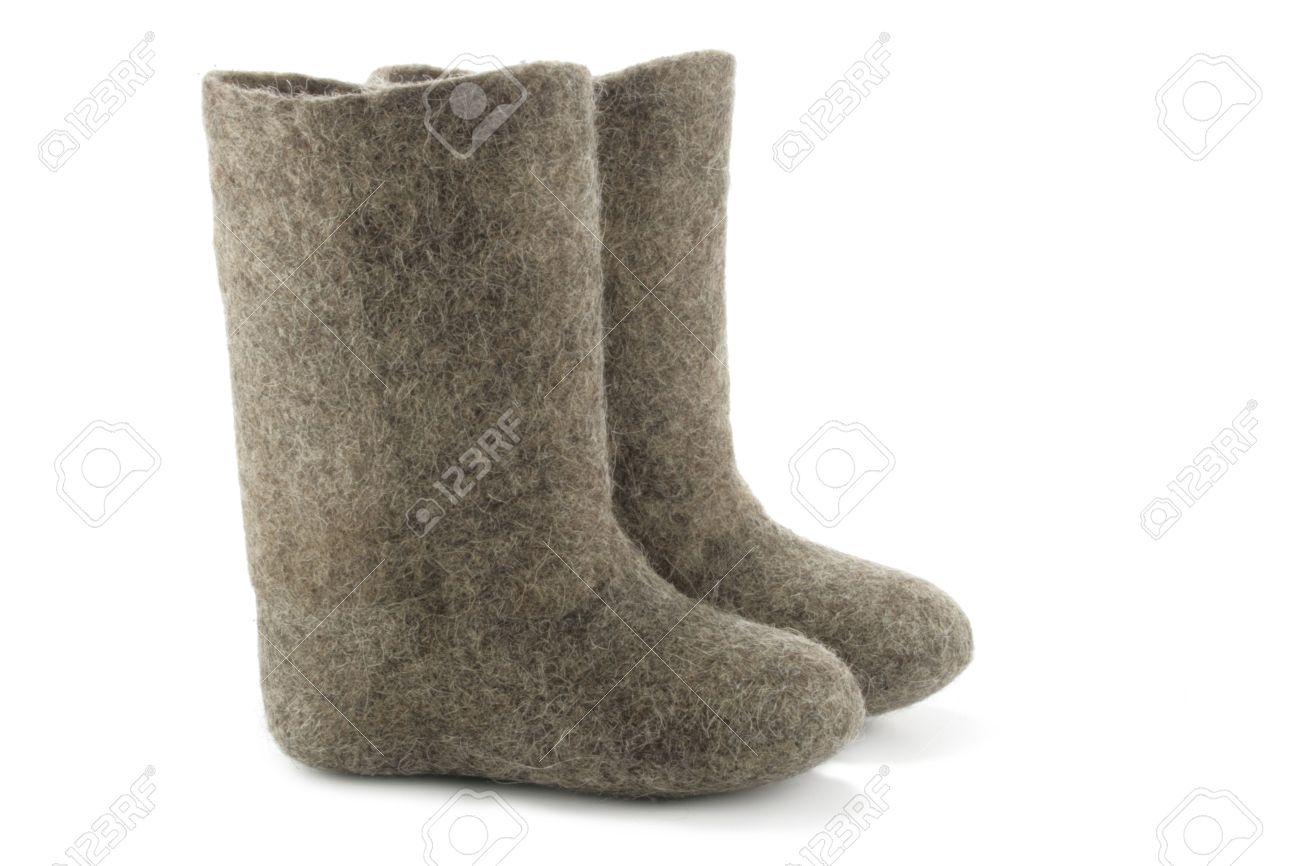 Child's valenki - russian felt footwear, isolated over white background Stock Photo - 846509