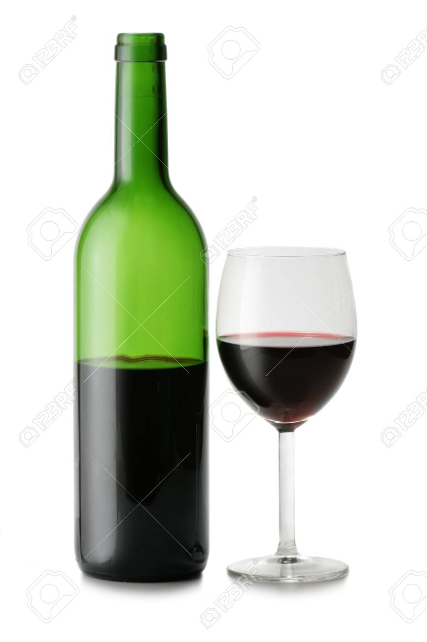 Glass and bottle of red wine isolated over white background Stock Photo - 894639