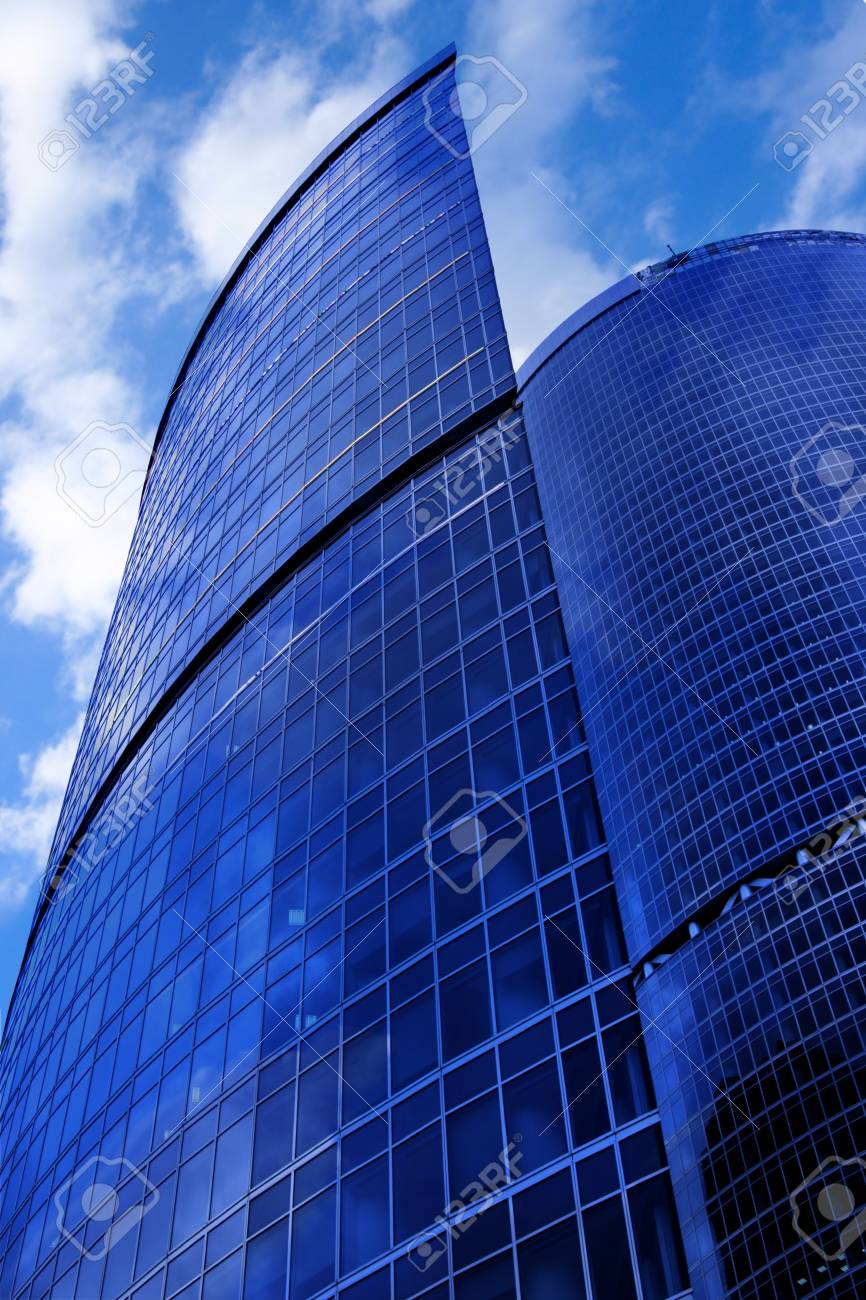 Modern skyscrapers close-up under blue sky with clouds Stock Photo - 3257798