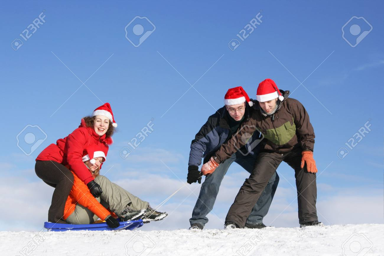 Friends to drive in sled in winter Stock Photo - 3519893