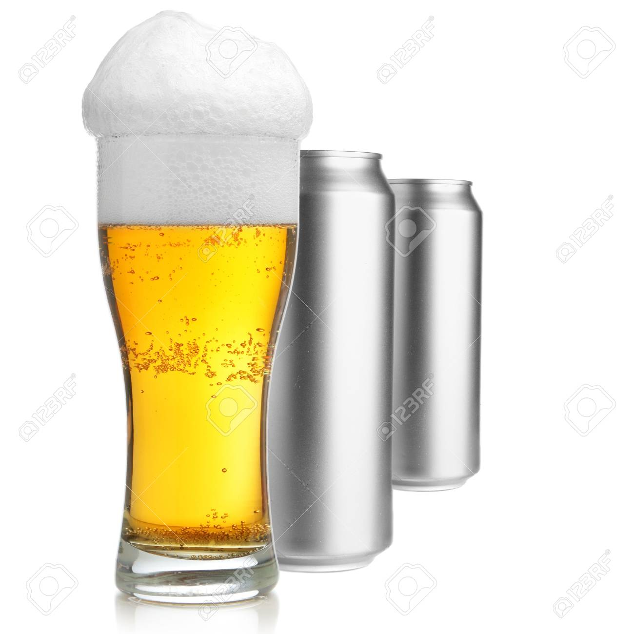 Beer glass and two cans isolated over white background Stock Photo - 3682302