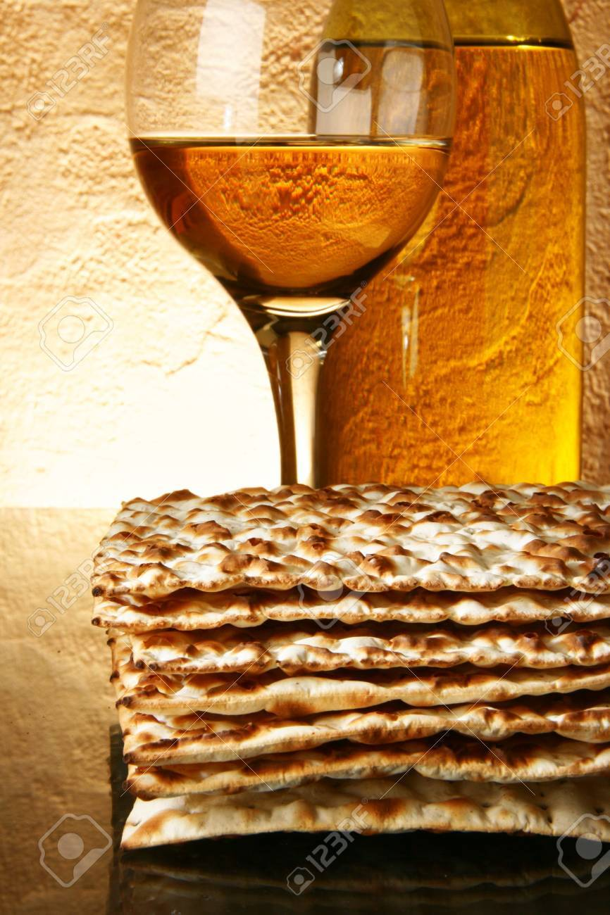 Still-life with wine and matzoh (jewish passover bread) Stock Photo - 4617693
