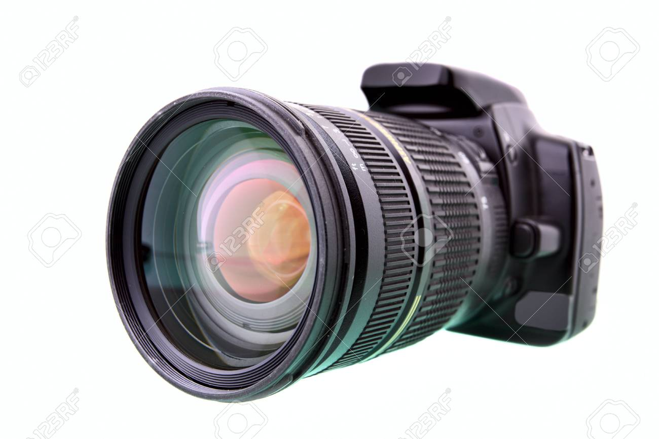 Black DSLR camera isolated over white backgrouhnd Stock Photo - 4702436