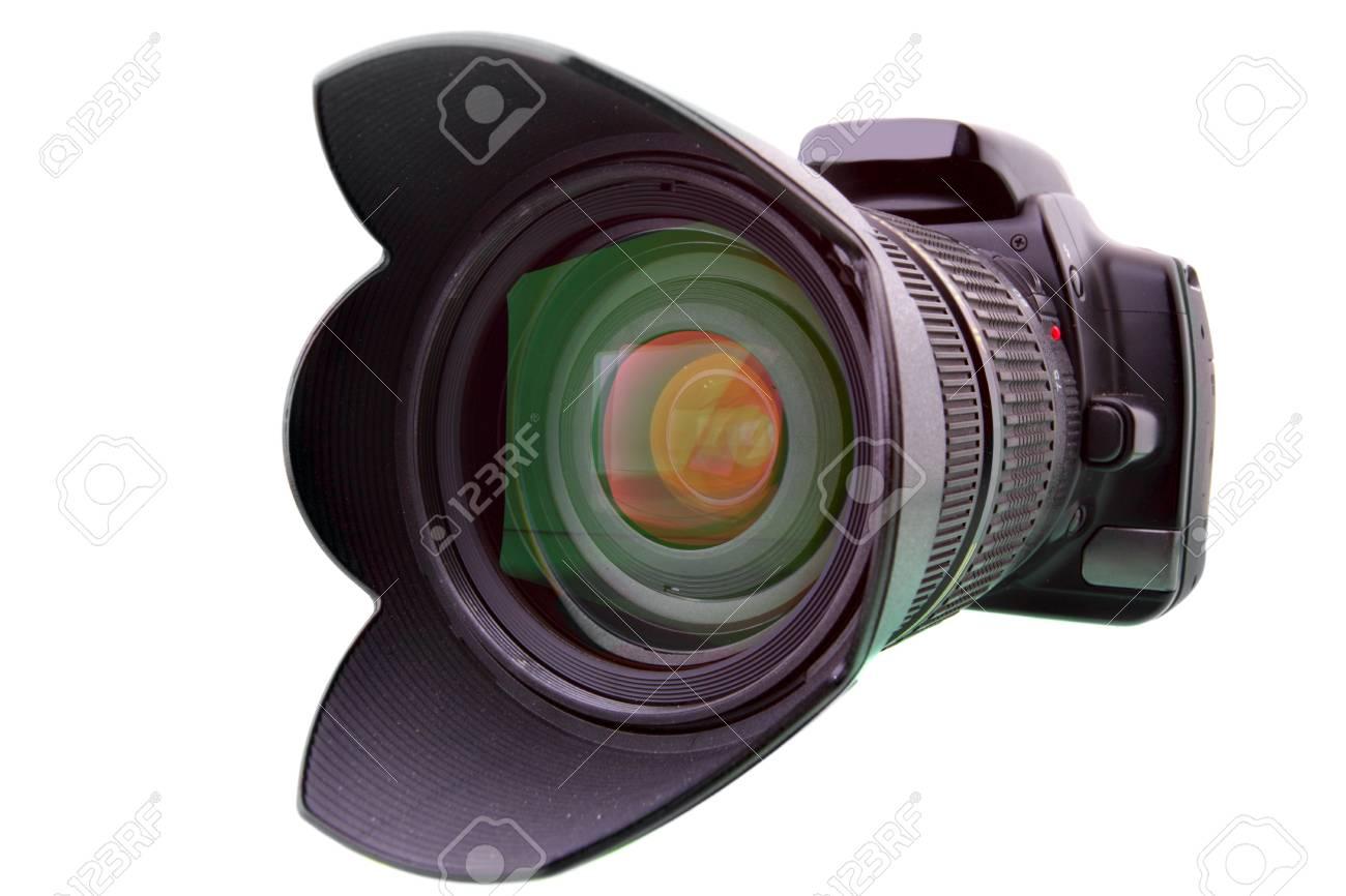 Black DSLR camera isolated over white backgrouhnd Stock Photo - 4745518