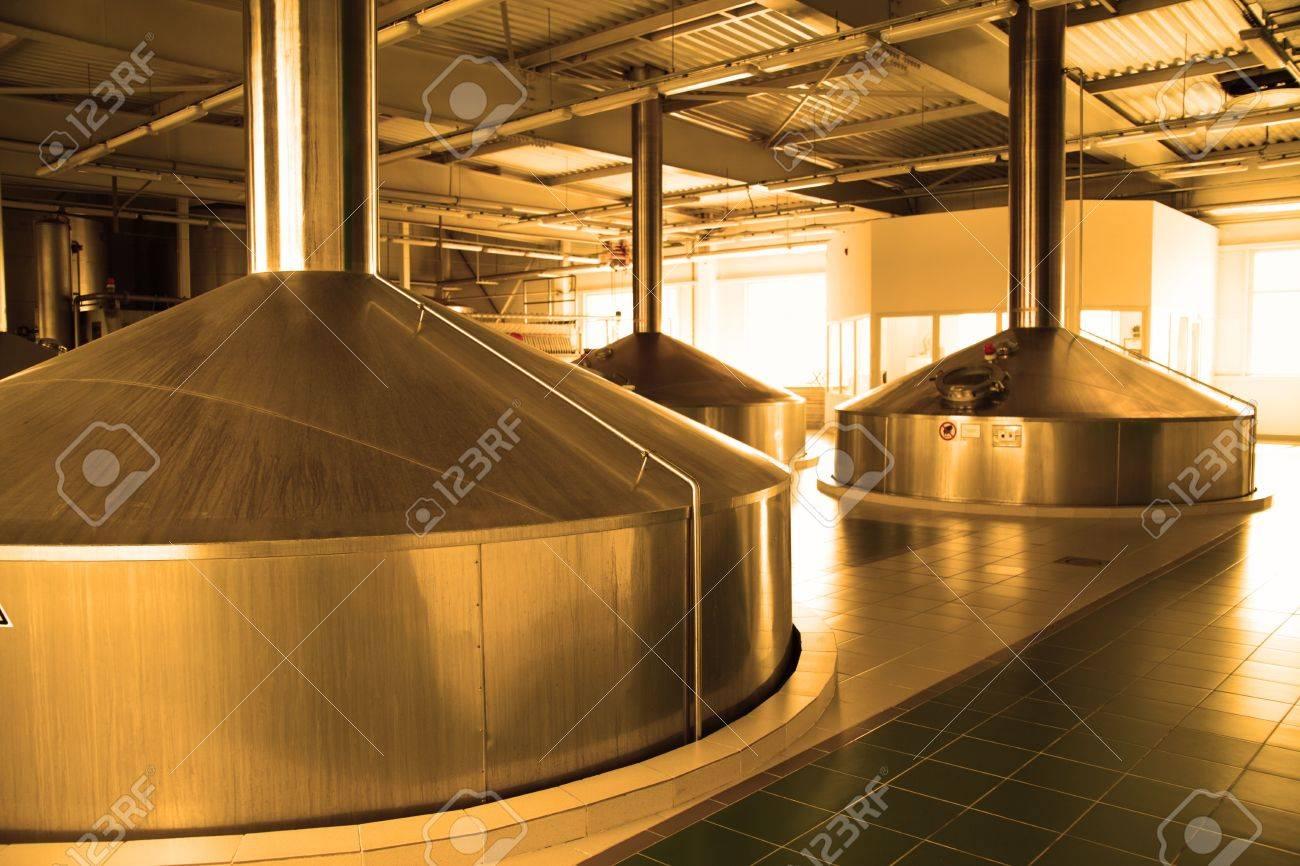 Modern brewery - workshop with steel fermentation vats Stock Photo - 5478924