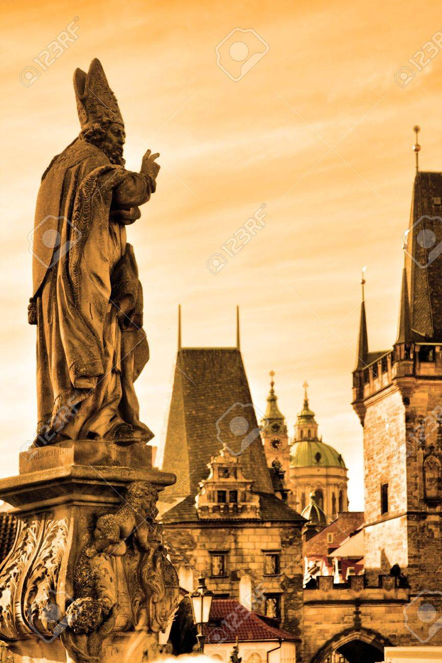 Charles bridge statues and cityscape of Prague, Chech republic Stock Photo - 6968827