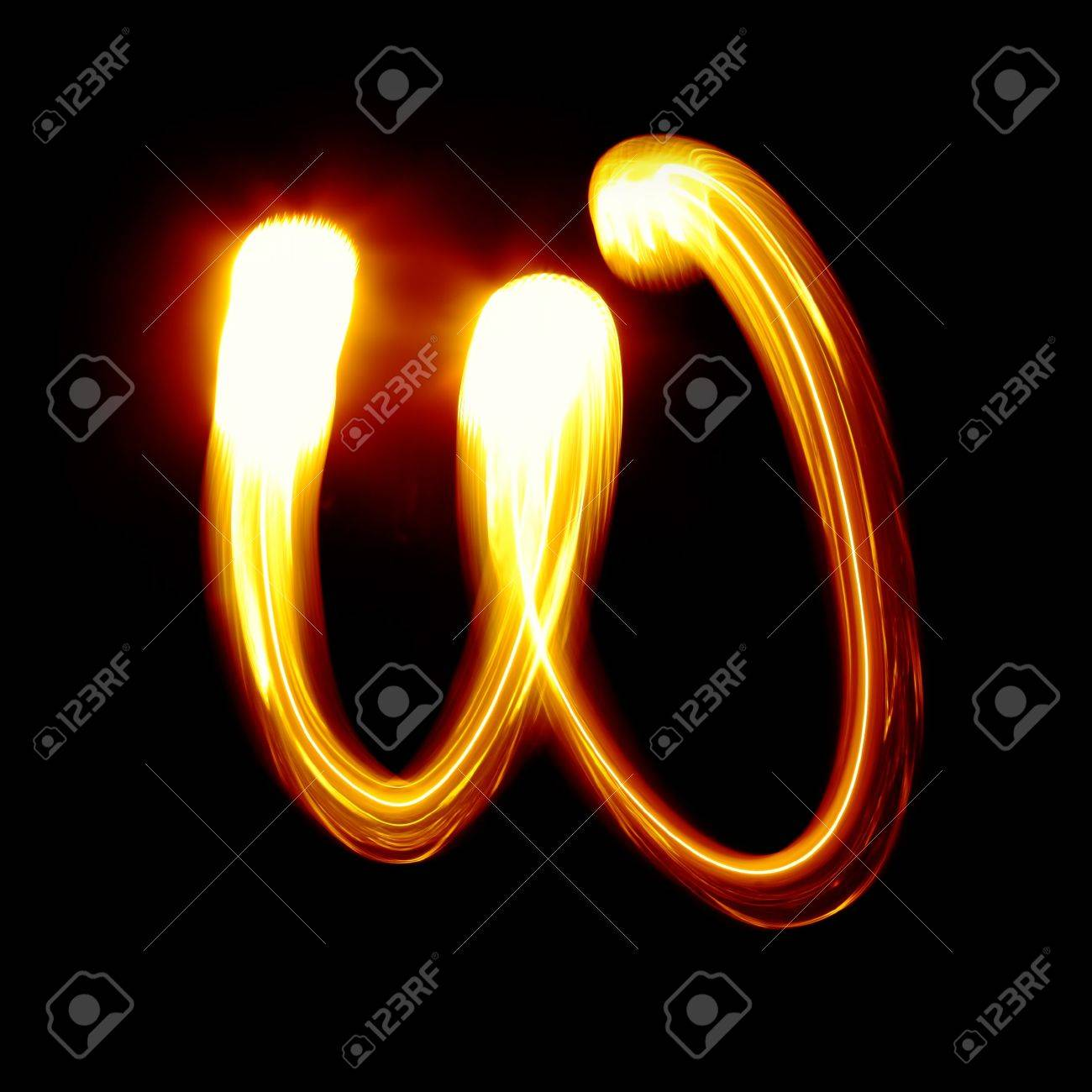 W - Created by light alphabet - lower case character Stock Photo - 7524324