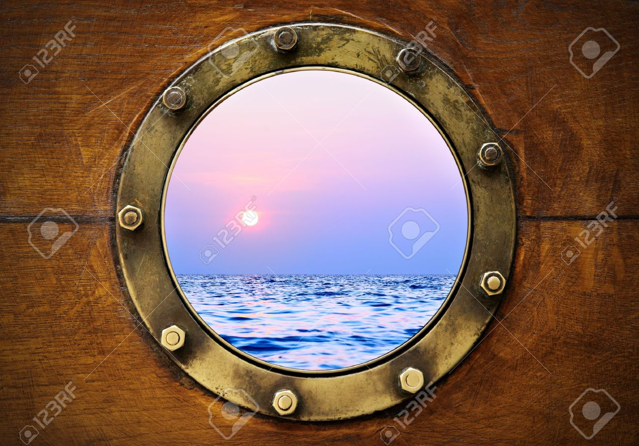 Boat porthole with ocean view close up Stock Photo - 9920116