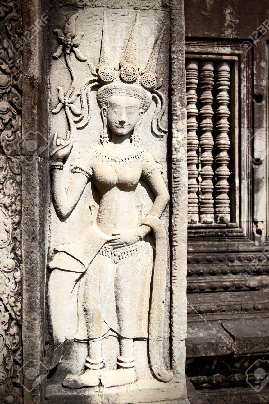 Apsara khmer stone carving in angkor wat cambodia stock photo