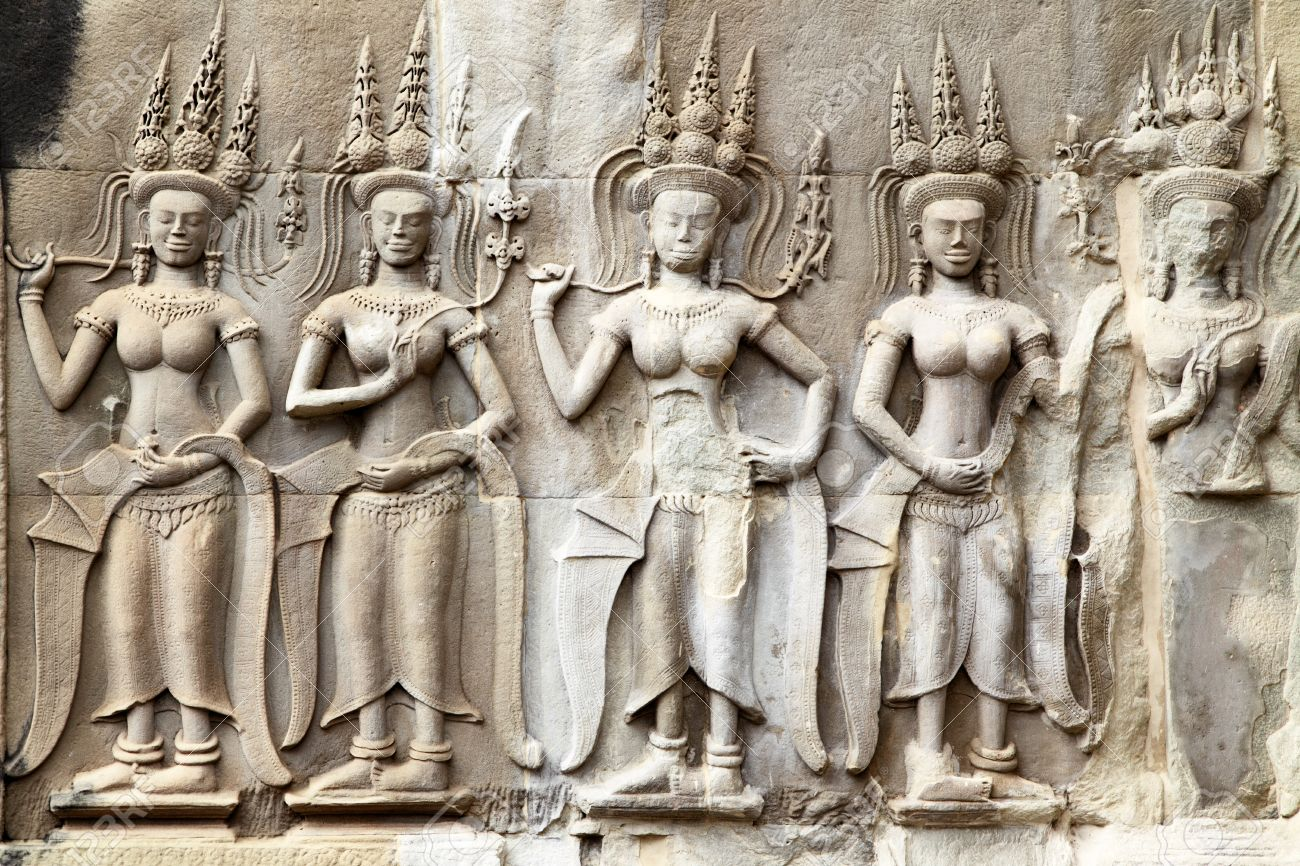 Apsaras khmer stone carving in angkor wat cambodia stock photo