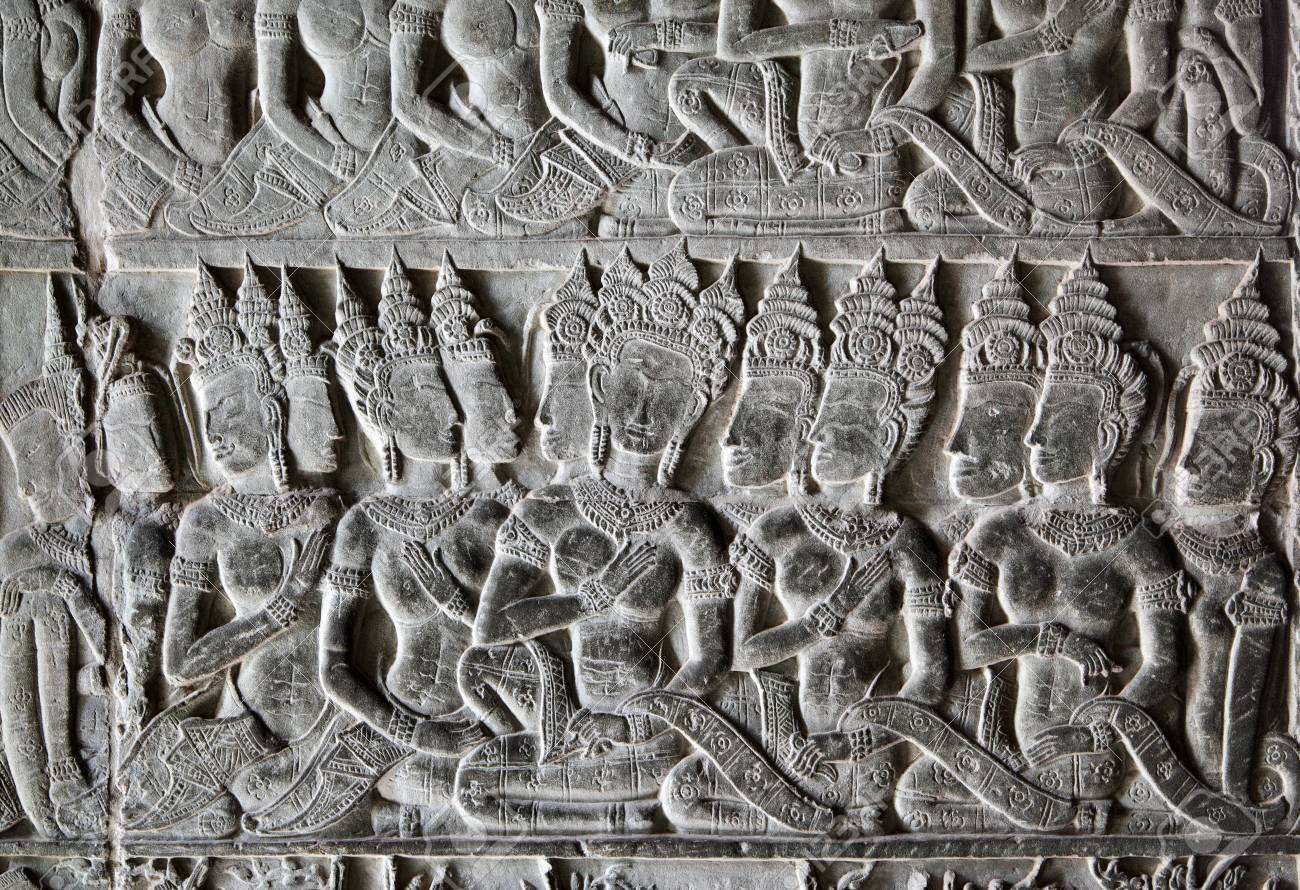 Khmer stone carving in angkor wat cambodia stock photo picture