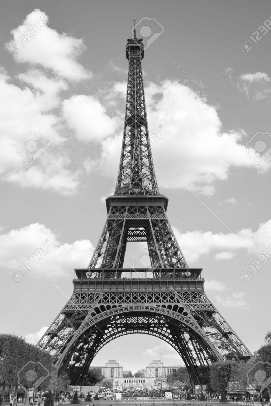 Eiffel tower paris black and white image stock photo 12639384