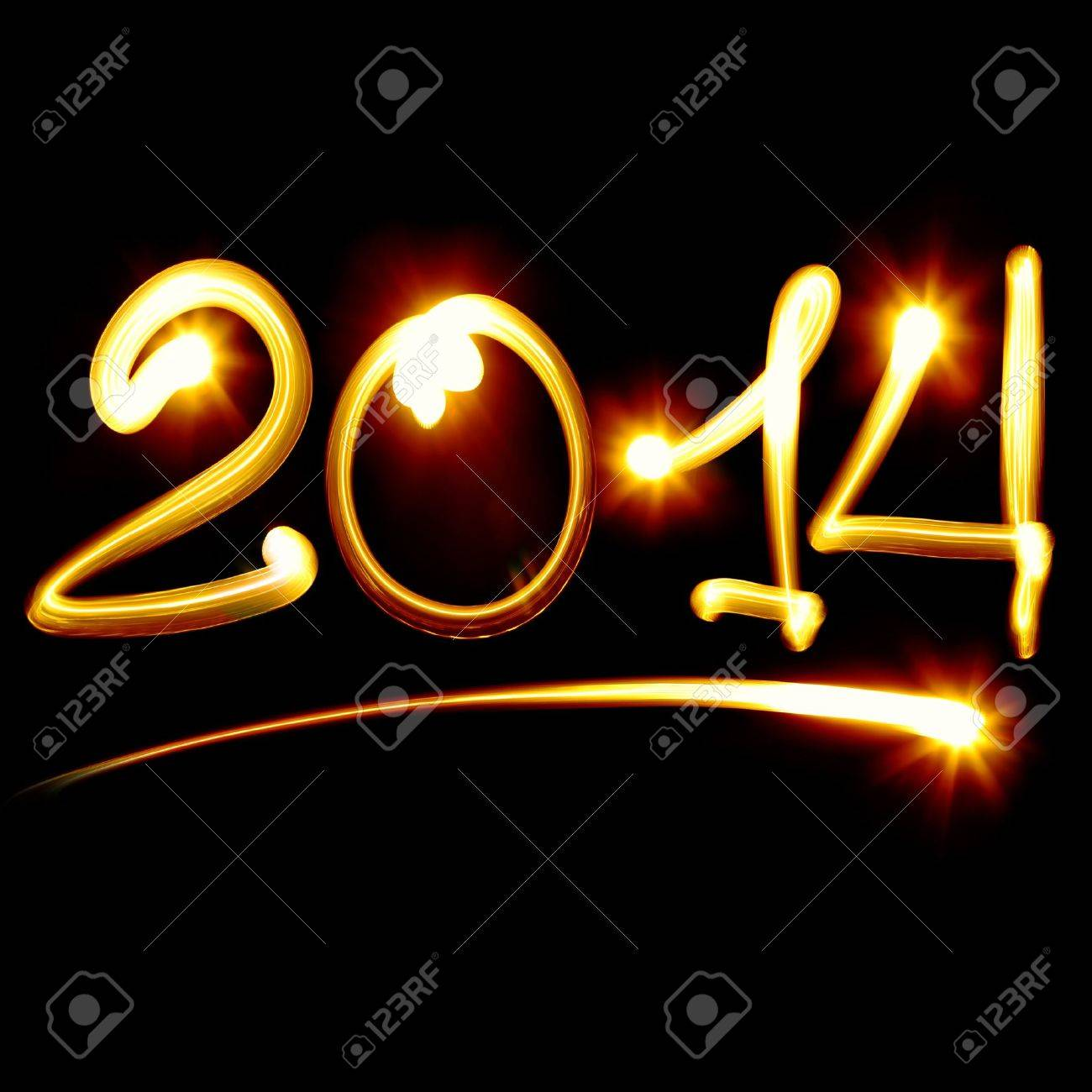 Happy new year 2014 message over black background Stock Photo - 15732588