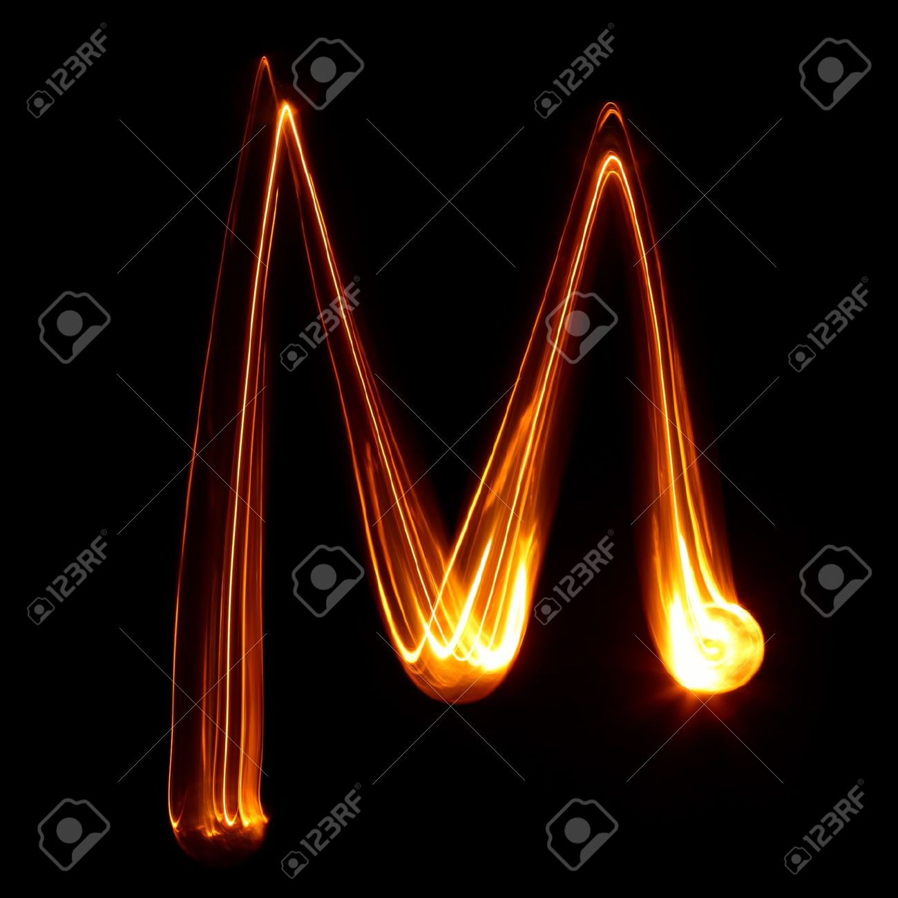 M - Pictured by light letters Stock Photo - 18246001