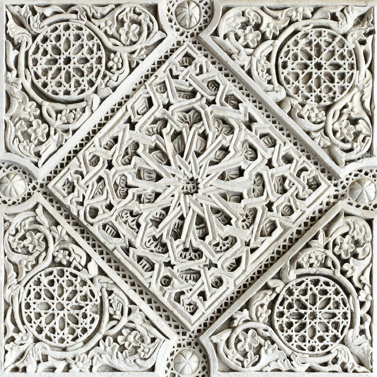 Old moorish stone carving close up seville stock photo picture
