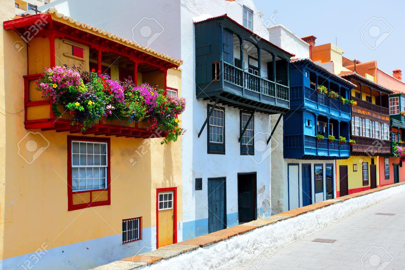 colorful houses with balconies in santa cruz de la palma canary islands stock photo