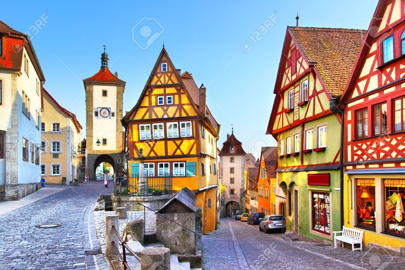 the most famous street in rothenburg ob der tauber bavaria stock
