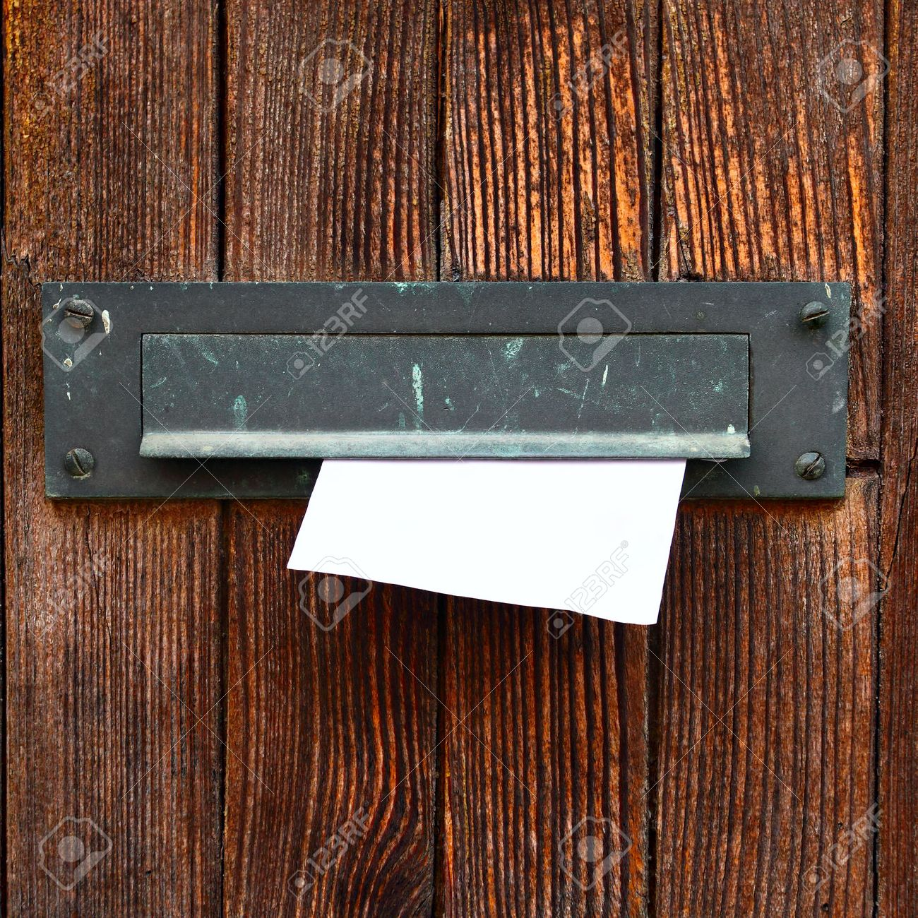 Letter box with envelope on wooden door Stock Photo - 23793174 & Letter Box With Envelope On Wooden Door Stock Photo Picture And ...