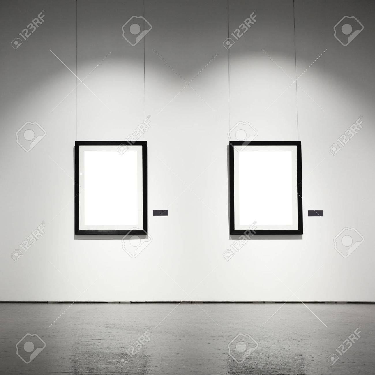exhibition hall with empty frames on wall stock photo 37631676