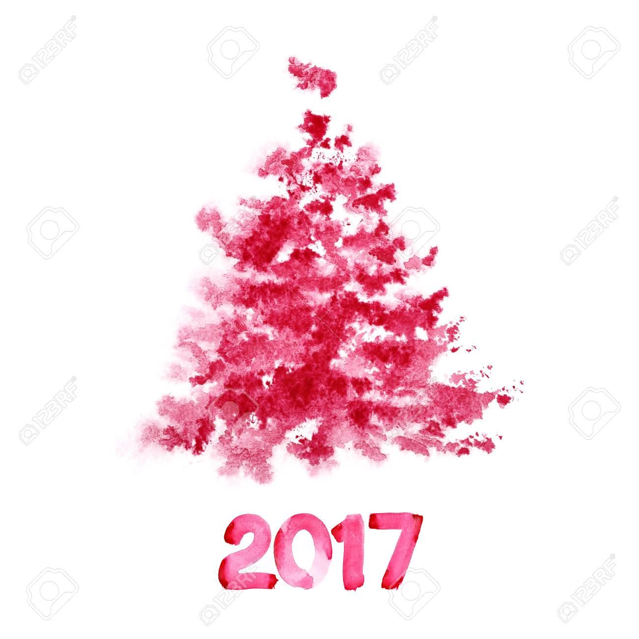 Nouvel an 2017 - Sapin de Noël aquarelle rouge isolé sur fond blanc