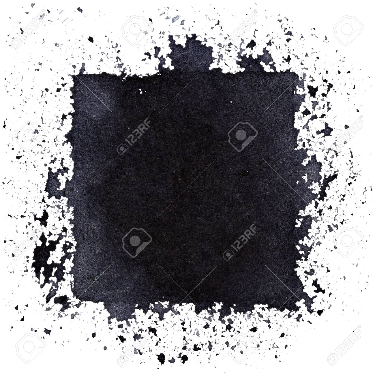 Grunge black square. Street art style abstract background. Space for your own text. Raster illustration - 73321750