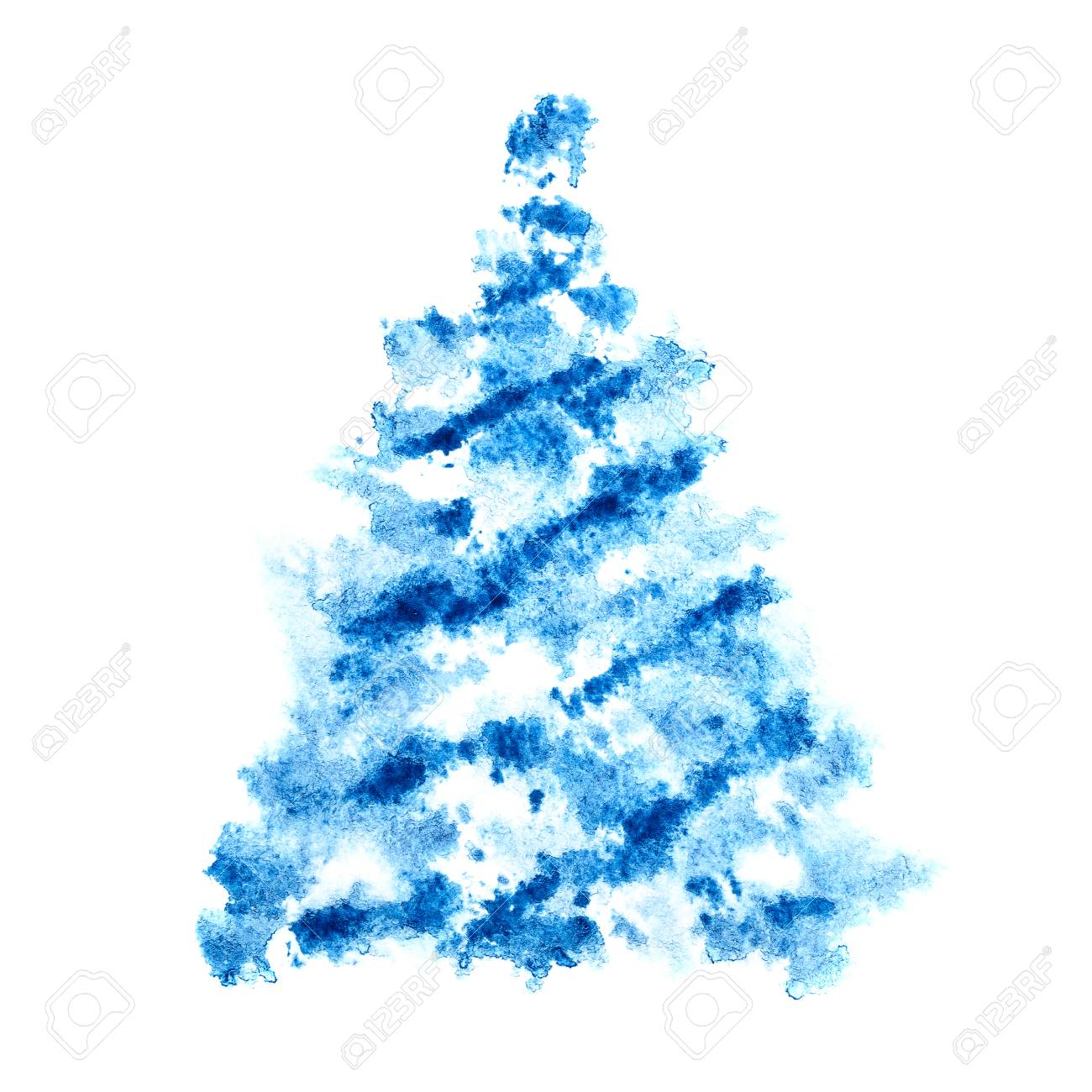 Sapin De Noël écossais Bleu Isolé Sur Fond Blanc   Illustration De