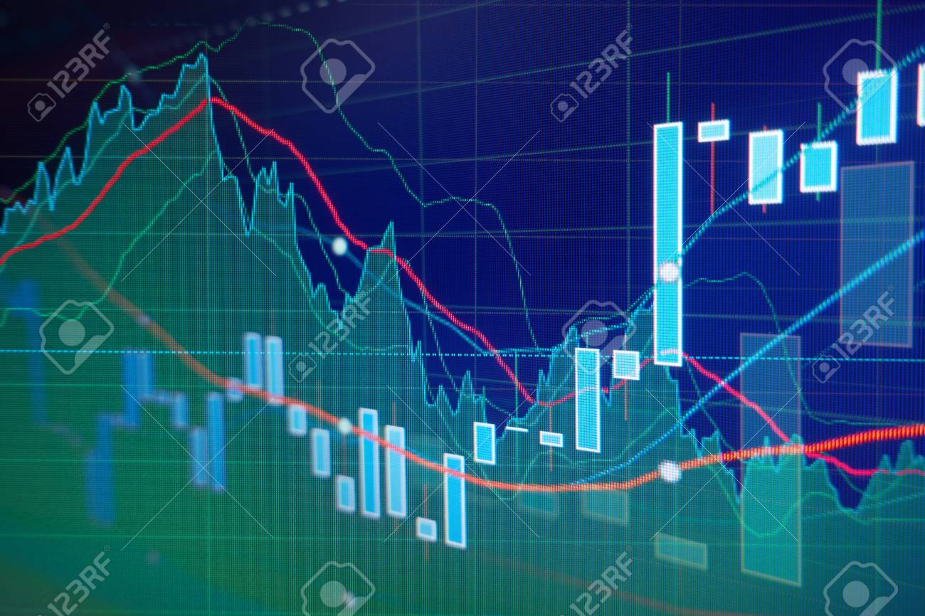 Candle graph charts of stock market investment trading - business
