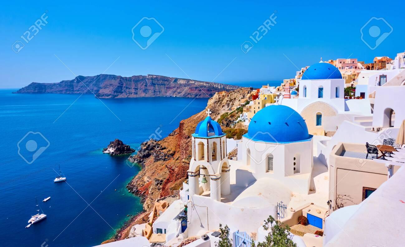 View of Oia town in Santorini island in Greece -- Greek landscape - 144348783